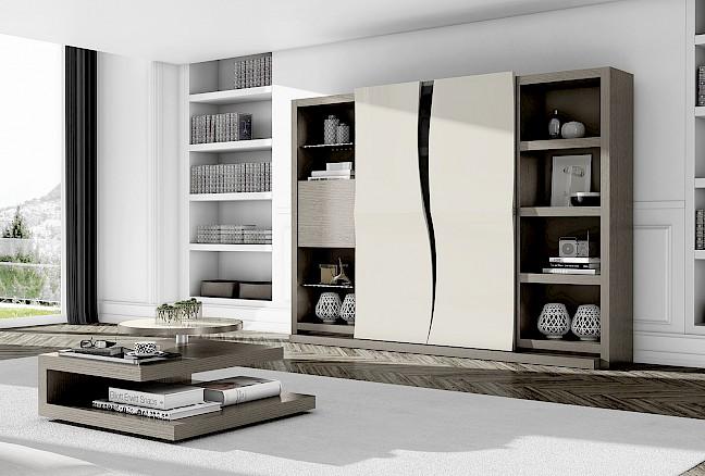 Импортная мебель для гостиной из Португалии линии Азур: стенка мебельная в